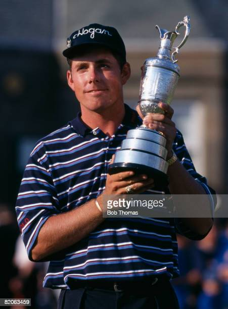 American golfer Justin Leonard holding the trophy after winning the British Open Golf Championship held at Royal Troon, Scotland on the 20th July...