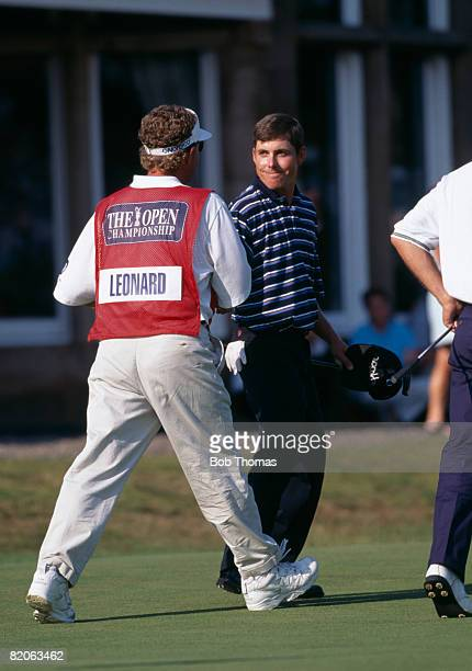 American golfer Justin Leonard with his caddie after winning the British Open Golf Championship held at Royal Troon, Scotland on the 20th July 1997.