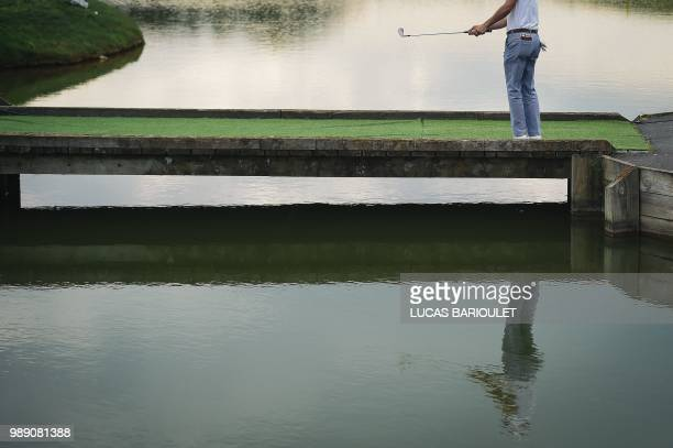 American golfer Justin Thomas competes during the HNA Open de France as part of the European Tour 2018 at the SaintQuentinenYvelines national golf...