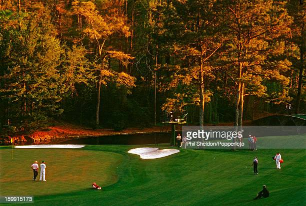American golfer Larry Mize chips in at the 11th hole to win the play-off against Greg Norman and Seve Ballesteros at the US Masters Golf Tournament...