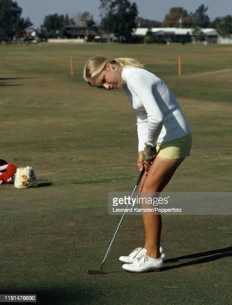 American golfer Laura Baugh putting circa 1974
