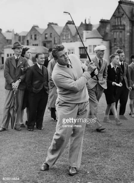 American golfer Lawson Little plays an iron shot during the Open Golf Championship at St Andrew's Scotland 5th July 1946