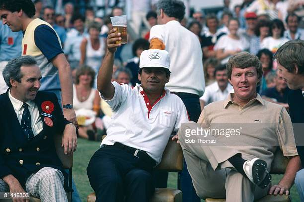 American golfer Lee Trevino drinking a beer at the awards ceremony after finishing 5th in the British Open Golf Championship held at Royal Birkdale...