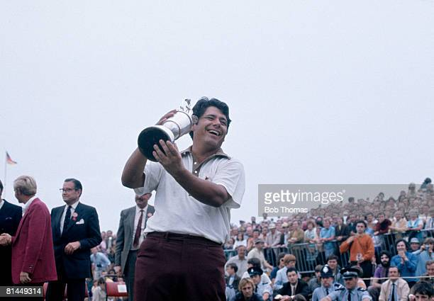 American golfer Lee Trevino holds the trophy after winning the British Open Golf Championship held at Royal Birkdale in July 1971. Photo by Bob...