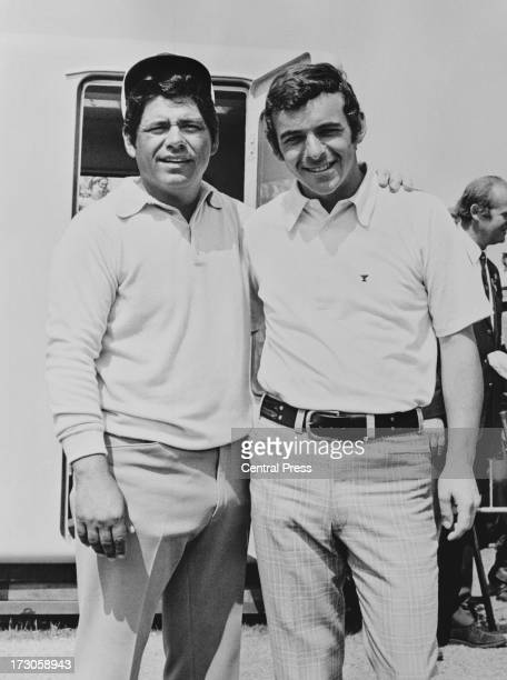 American golfer Lee Trevino with Tony Jacklin after the final round of the Open Championship at Muirfield Golf Links, East Lothian, Scotland, 15th...