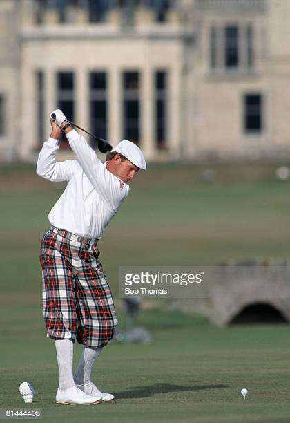 American golfer Payne Stewart on the 18th hole tee during the British Open Golf Championship held at St Andrews Scotland during July 1995
