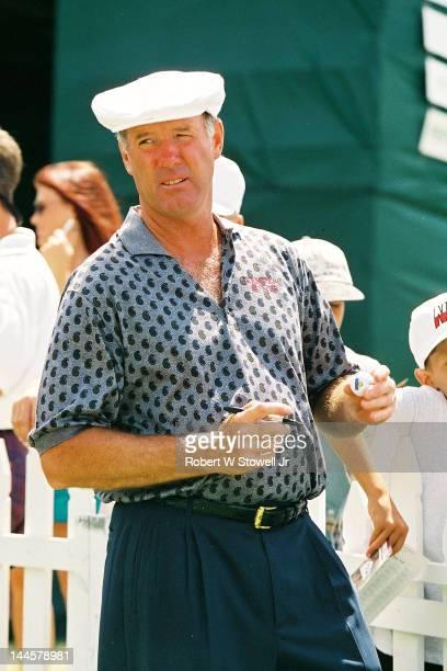 American golfer Tom Weiskopf autographs golf ball during the PGA Seniors' Championship at the PGA National Golf Club, Palm Beach Gardens, Florida,...