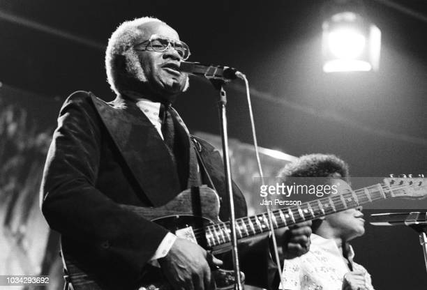 American gospel and blues singer Roebuck 'Pops' Staples of The Staple Singers performing at Midem Cannes France January 1975