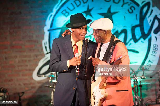 American Gospel and Soul musician Leon Bridges and American Blues musician Buddy Guy perform onstage together at Buddy Guy's Legends nightclub,...
