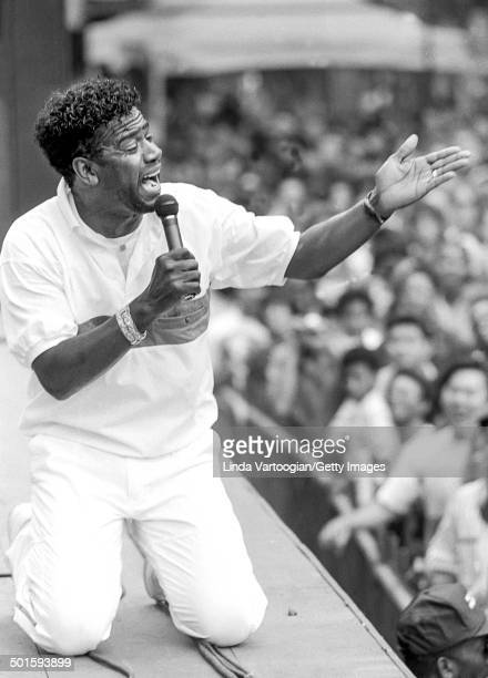 American gospel and soul singer Al Green performs at Central Park SummerStage, New York, New York, June 22, 1991.