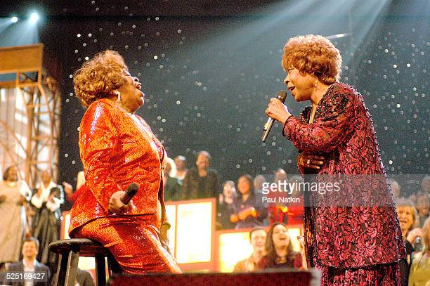 American gospel musician Albertina Walker performs with an unidentified woman Dallas Texas March 11 2003