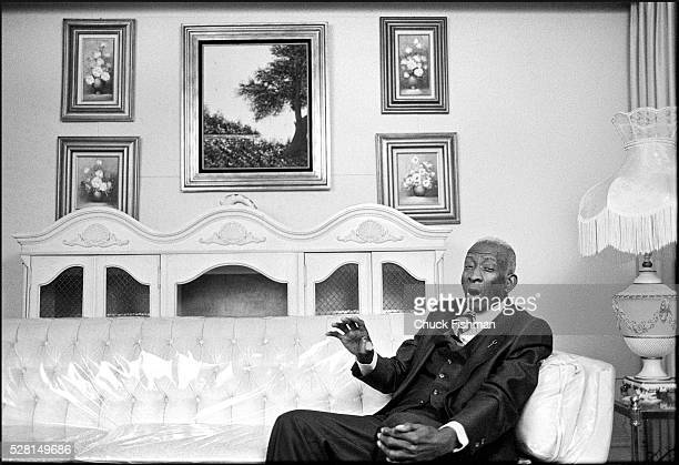 American Gospel musician and publisher Thomas A Dorsey sings in his living room Chicago Illinois March 1983