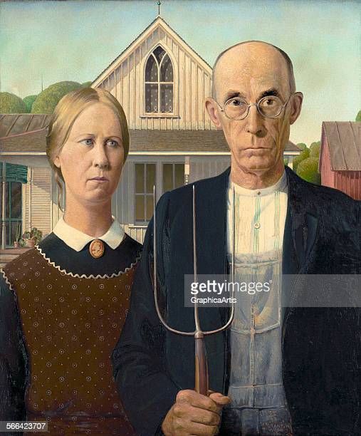 American Gothic by Grant Wood ; oil on board from the Art Institute of Chicago.