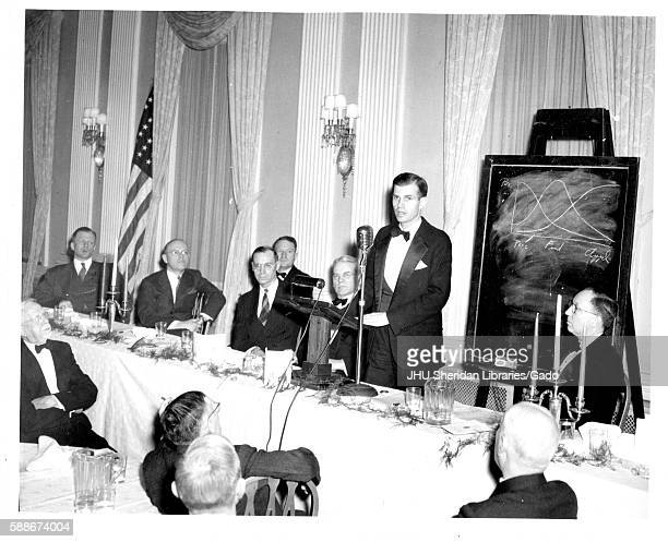 American government official and Johns Hopkins University graduate Alger Hiss speaks at the university's commemoration day celebrating the...