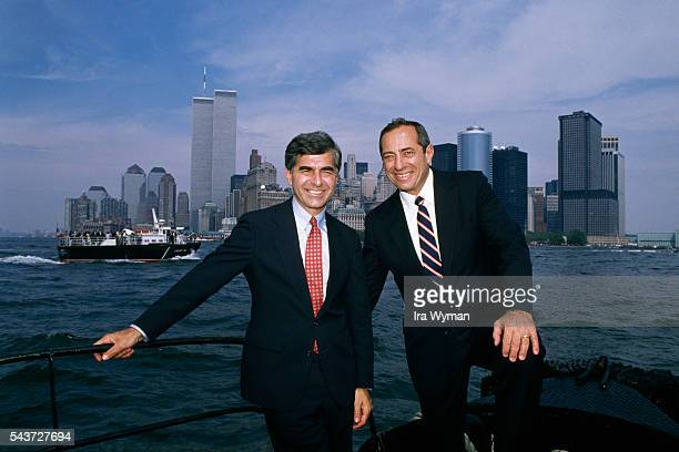 American Governor of Massachusetts and Democratic candidate Michael Dukakis campaigns for presidency on Ellis Island where he is endorsed by Governor...