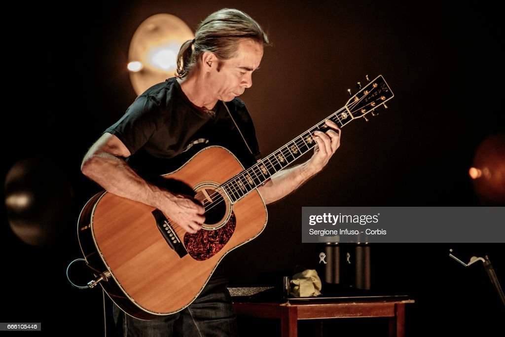 American Grammy nominated multi-instrumentalist and lead guitarist of Dave Matthews Band and TR3 Tim Reynolds performs on stage on April 7, 2017 in Milan, Italy.