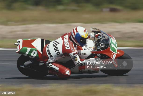 American Grand Prix motorcycle road racer John Kocinski rides the 250cc Marlboro Yamaha YZR250 to finish in 2nd place in the 1990 Swedish 250cc...