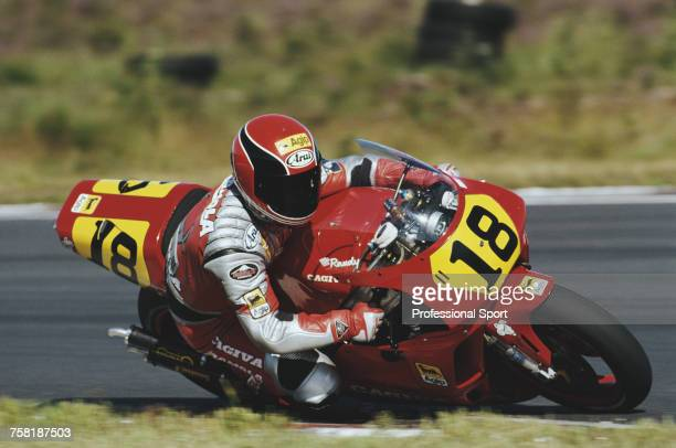 American Grand Prix motorcycle road racer Randy Mamola rides the 500cc Cagiva GP500 in the 1990 Swedish 500cc motorcycle Grand Prix at Anderstorp...