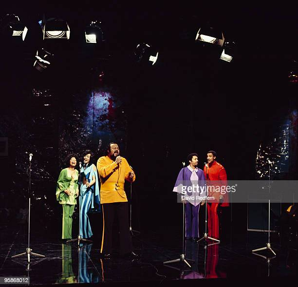 American group 5th Dimension perform on a television show in 1972.