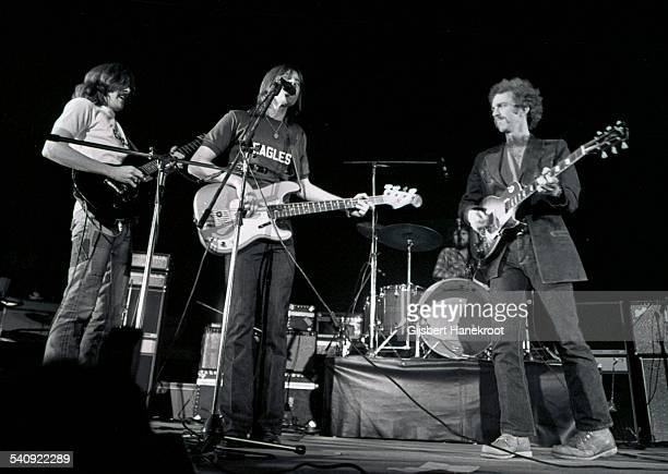American group Eagles perform live on stage at Concertgebouw in Amsterdam, Netherlands in 1972. Left to right: Glenn Frey, Randy Meisner and Bernie...