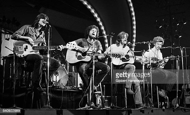American group Eagles perform live on stage at on the 'Pop Gala' TV show, Voorburg, Netherlands, 10th March 1973. Left to right: Randy Meisner, Don...