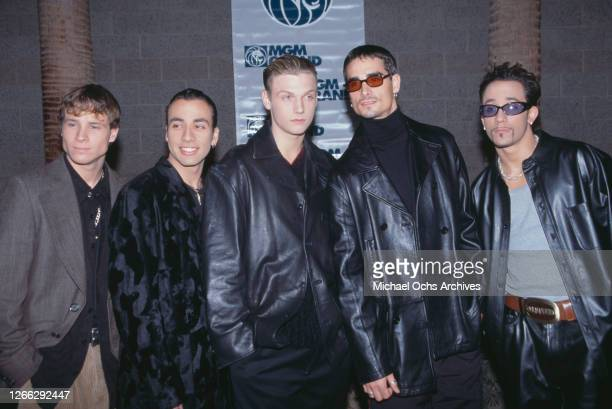 American group the Backstreet Boys at the Billboard Music Awards at the MGM Grand in Las Vegas, 8th December 1997. From left to right, they are Brian...