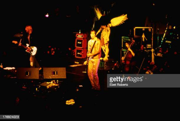 American grunge band Nirvana performing at the New York Coliseum New York City14th November 1993 Left to right Kurt Cobain Krist Novoselic and...