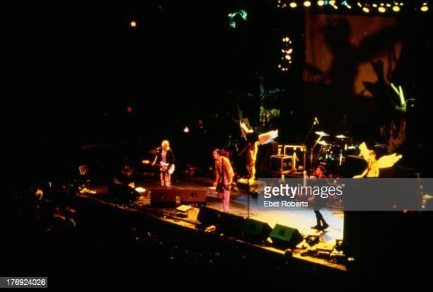 American grunge band Nirvana performing at the New York Coliseum New York City14th November 1993 Left to right Kurt Cobain Krist Novoselic and Pat...