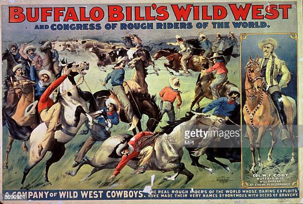 American guide army scout and showman William Frederick Cody nicknamed Buffalo Bill plays the part of himself in a melodrama by novelist Ned Buntline