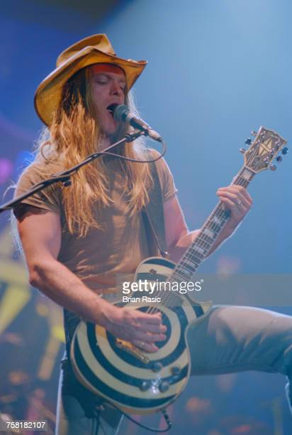 American guitarist and musician, Zakk Wylde performs live on stage, playing his Gibson Les Paul Custom bulls-eye guitar, at the Gibson Night of 100...