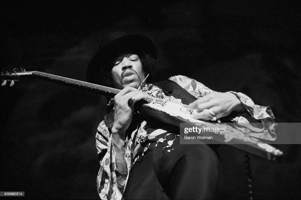 American guitarist and singer Jimi Hendrix performs at the Winterland Ballroom in San Francisco, 4th February 1968.