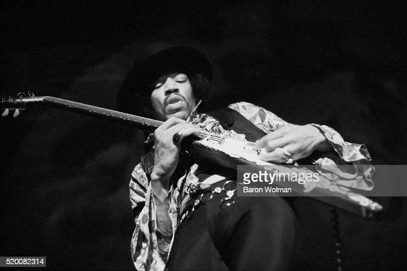 American guitarist and singer Jimi Hendrix performs at the Winterland Ballroom in San Francisco 4th February 1968