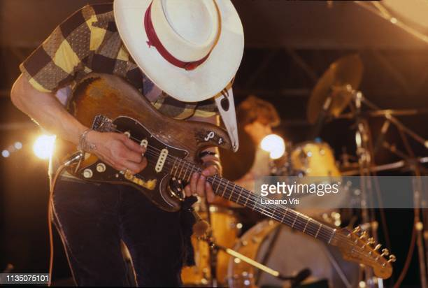 American guitarist and singer-songwriter Stevie Ray Vaughan performing, Italy, 1985.