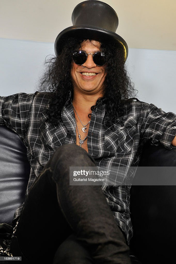 American guitarist and songwriter Slash. During a portrait shoot and interview for Guitarist Magazine, June 28, 2011.