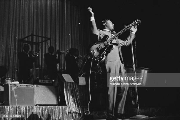 American guitarist BB King performs at the Apollo Theater in New York City circa 1965