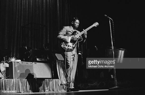 American guitarist B.B. King performs at the Apollo Theater in New York City, circa 1965.
