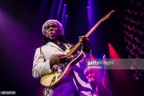 American guitarist composer producer and singersongwriter Nile Rogers performs on stage in his Let's Dance show at Ziggo Dome Amsterdam Netherlands...
