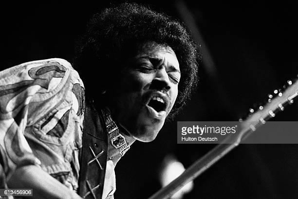 American guitarist Jimi Hendrix plays the guitar.