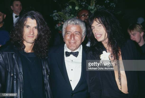 American guitarist Joe Perry, American singer Tony Bennett and American singer Steven Tyler attend the 36th Annual Grammy Awards, held at Radio City...