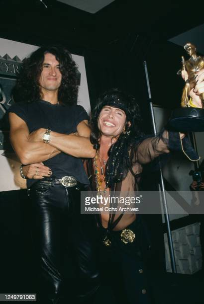 American guitarist Joe Perry and American singer Steven Tyler attend the 2nd International Rock Awards, held at the 69th Battalion State Armory in...