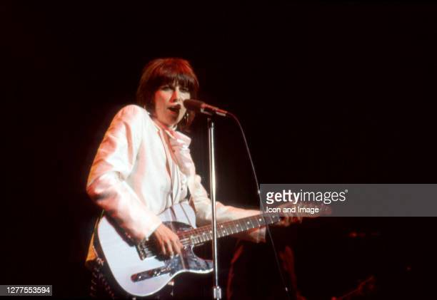 American guitarist, lead vocalist, and primary songwriter of the rock band The Pretenders, Chrissie Hynde performs at Royal Oak Music Theatre on...