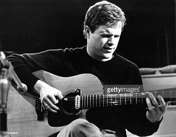 American guitarist Leo Kottke performs with an acoustic guitar at VPRO radio station Hilversum Netherlands in 1973
