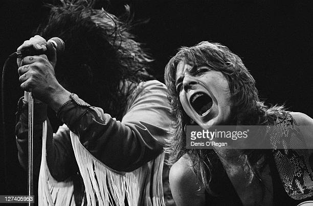 American guitarist Randy Rhoads performing with English rock singer Ozzy Osbourne circa 1980