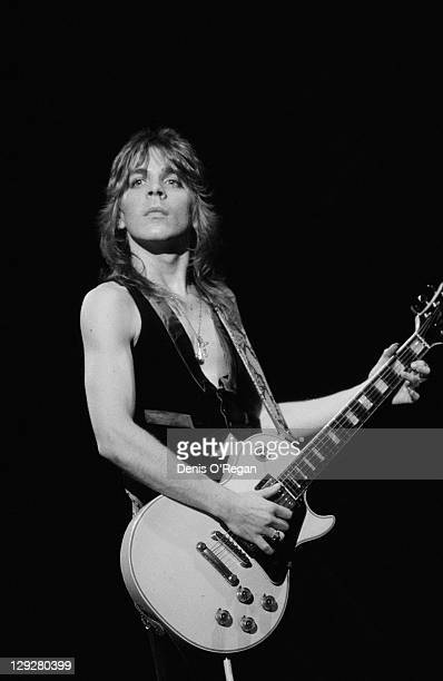 American guitarist Randy Rhoads performing with English rock singer Ozzy Osbourne UK 1980