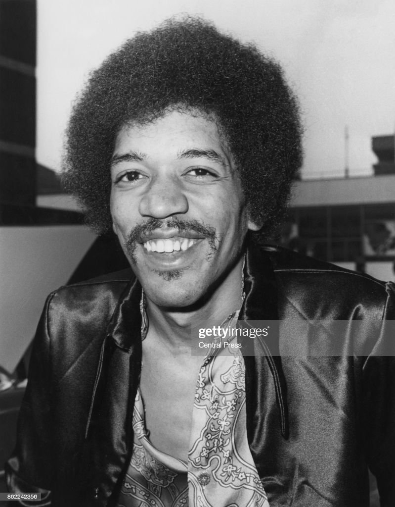 American guitarist, singer and songwriter Jimi Hendrix (1942 - 1970) arrives at Heathrow Airport, London, 27th August 1970.