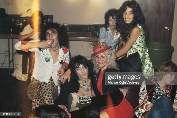 American guitarist Sylvain Sylvain and American guitarist and singer-songwriter Johnny Thunders of American rock band New York Dolls surrounded by...