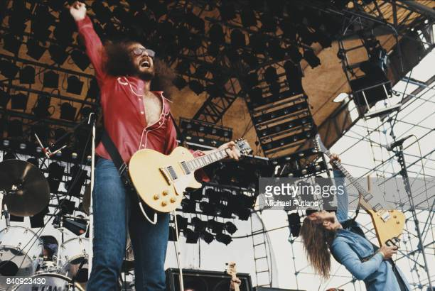 American guitarists Charlie Hargrett and Rickey Medlocke of American Southern rock band Blackfoot perform at hard rock and heavy metal music festival...