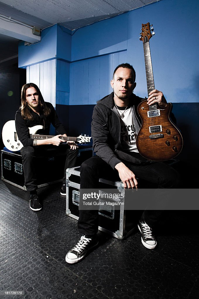 American guitarists Eric Friedman (L) and Mark Tremonti of the rock band Tremonti photographed during a portrait shoot backstage at the O2 Academy Brixton, October 12, 2012.