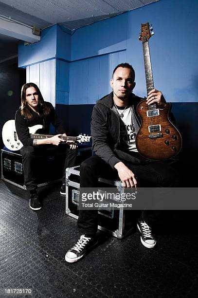 American guitarists Eric Friedman and Mark Tremonti of the rock band Tremonti photographed during a portrait shoot backstage at the O2 Academy...