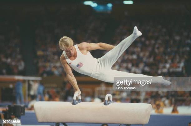 American gymnast Bart Conner pictured in action for the United States on the pommel horse during competition in the Men's individual all-around...